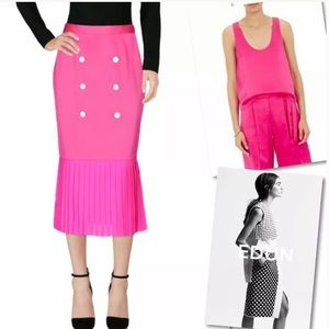 EDUN HOT PINK BUTTON PLEATED SKIRT OUTFIT